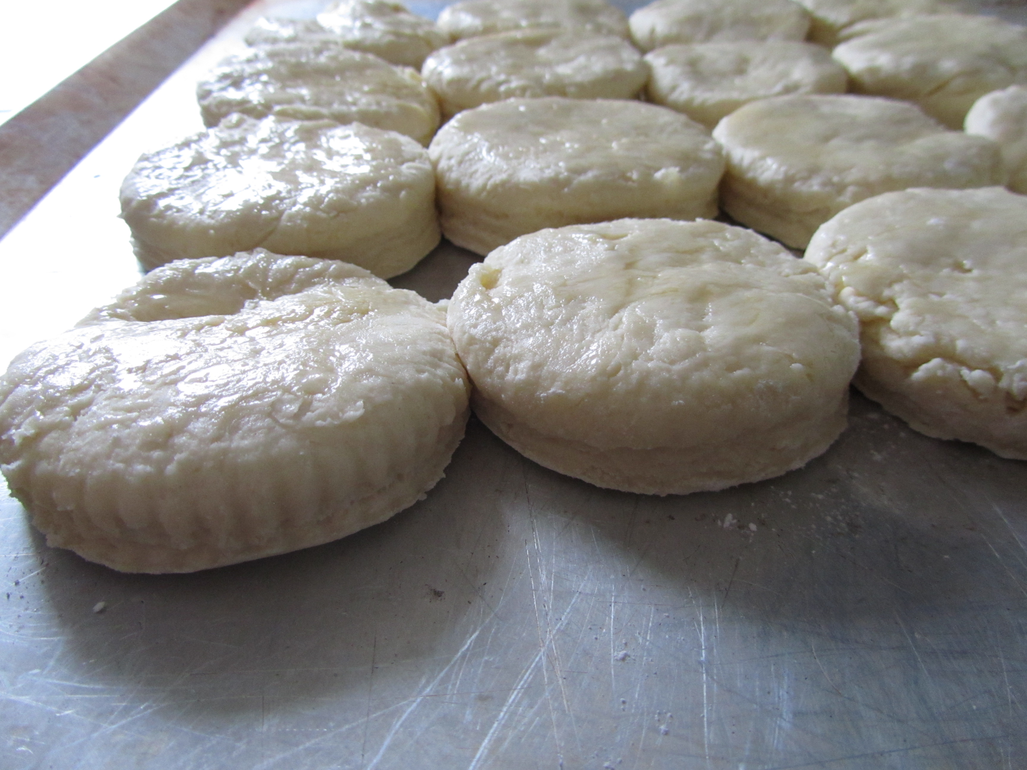 brush biscuits with melted butter