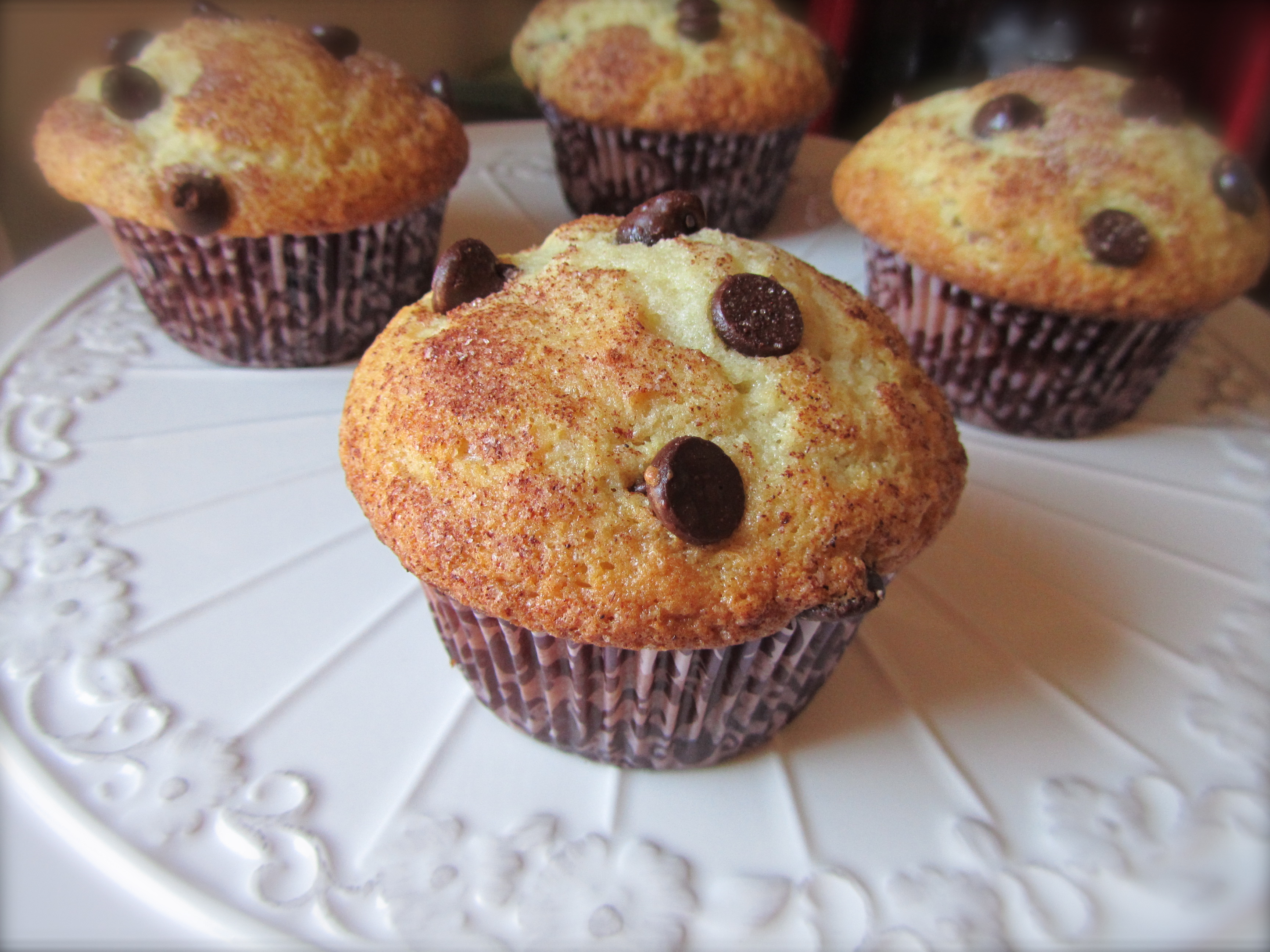 Bakery Style Chocolate Chip Muffins | the purple spoon